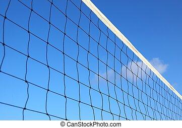 beach volleyball net on a blue sky