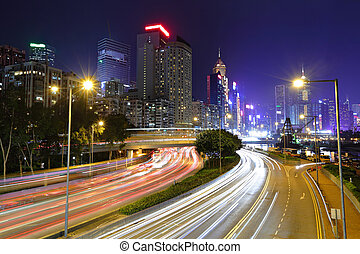 traffic in downtown at night