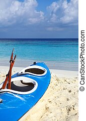 Blue boat is on a beach - Paddle blue boat is on a sandy...