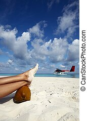 Airwoman has a rest on a beach - Airwoman has a rest on a...