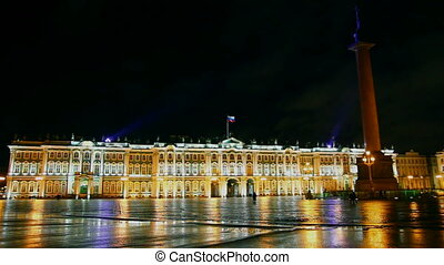The Hermitage - Winter Palace in St. Petersburg at night - timelapse