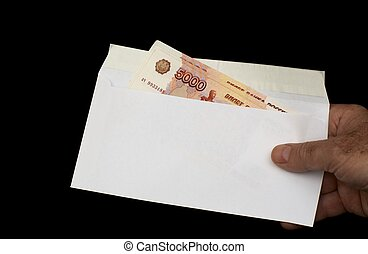 Maney in envelope - Russian roubles in white envelope,...