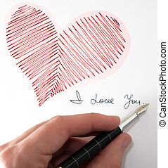 Heart - heart fountain pen and I love you