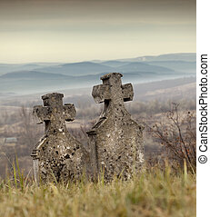 Expectancy - Tombstones in a very old cemetery, Hungary....