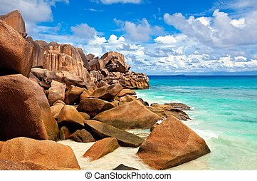 Seascape view, Seychelles, LaDigue island