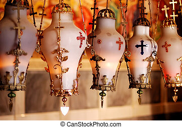 Easter Sunday in Jerusalem Israel - Lamps hang above the...