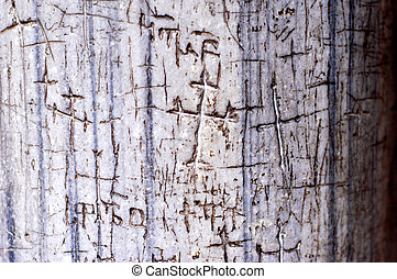 Easter Sunday in Jerusalem Israel - Crosses are carved into...