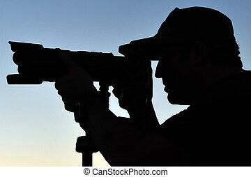 fotógrafo, silueta