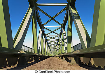 Metal structure of railway bridge