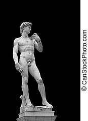 Statue of David isolated on black. Copy of original in...
