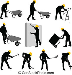 construction workers 2 - construction workers silhouettes 2...