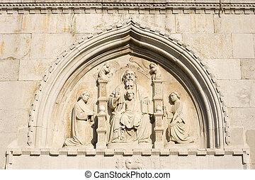 bajorrelieve, Esculturas, trinidad, Muggia, catedral