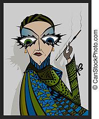 Madame smoker - A strange woman smokes a cigarette....