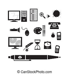 Silhouette - office - Vector silhouette clip art of office...