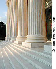 Columns on Steps of Supreme Court in Washington, DC - Fluted...