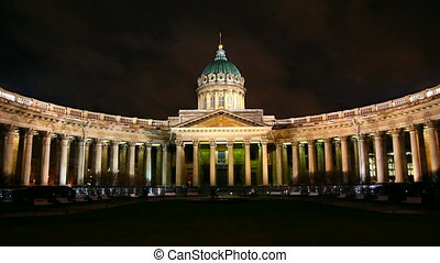 Kazan Cathedral at night in St Petersburg - timelapse