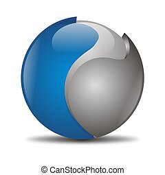 abstract orb in blue and gray