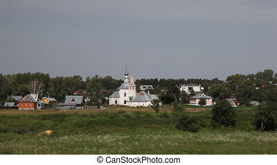 Temple in Suzdal - View from Kremlin Suzdal , Russia