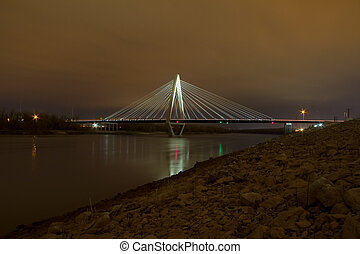 The Christopher S. Bond Bridge in Kansas City at Night - The...