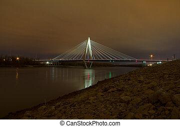 The Christopher S. Bond Bridge in Kansas City at Night - The...