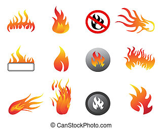 flame icon set - isolated flame icon set on white background
