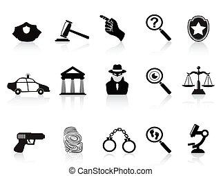 ley, crimen, iconos, Conjunto