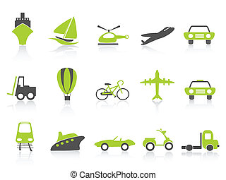 transportation icons nature green series - isolated...