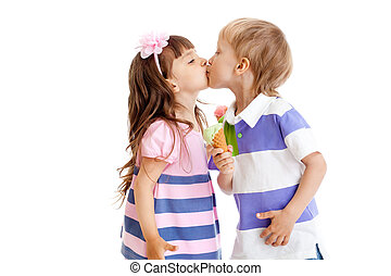 girl and boy are kissing with ice cream in hands isolated