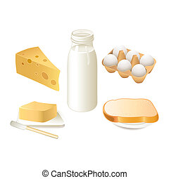 Breakfast time - Traditional breakfast food - milk, butter,...