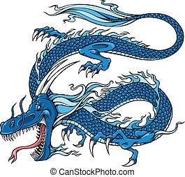 Blue Dragon Vector Illustration art