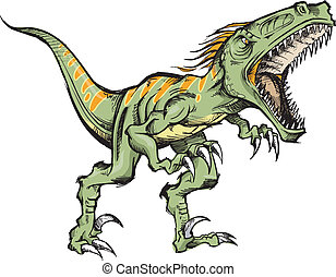 Raptor dinosaur Vector Illustration art sketch