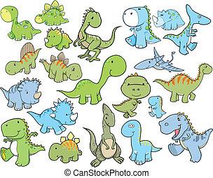 lindo, Dinosaurio, vector, Conjunto