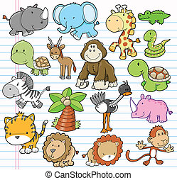 Safari Animal Vector Illustration design Elements Set