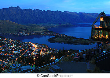 Queenstown at night - landscape of Queenstown City New...
