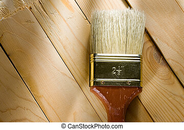 Brush on a wooden background