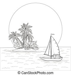 Sailing boat in the tropical sea, contours - Sailing boat...