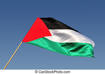 Palestinain Flag Waves in the Wind - The Palestinian state...