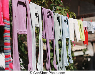 Childrens tights for drying