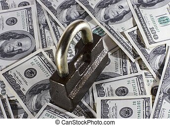 The lock and money - The lock which is located on money