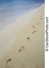 Footstep on the sand - Fun footsteps on the coral sandy...