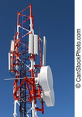 radio  cellular tower on a background of the blue sky