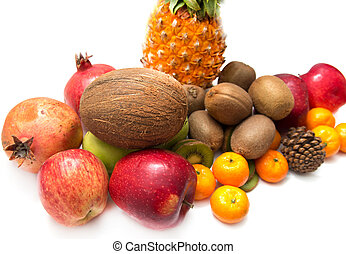 fresh fruit on a white background