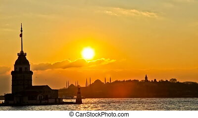 HDR Maiden Tower at the Sunset Time Lapse, Hagia Sophia -...