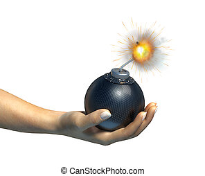Human hand holding a bomb with burning fuse, on white...