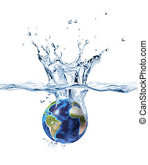 Planet Earth, splashing into clear water. - Planet Earth,...