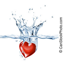 Shining heart, splashing into clear water - Shining heart,...