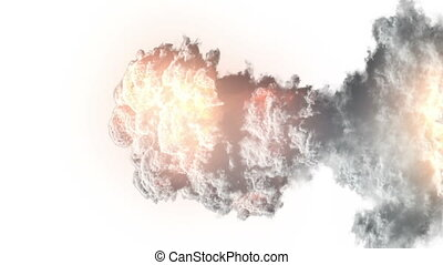 Explosion with white  smoke