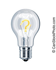Light bulb with question mark at the place of incandescence...