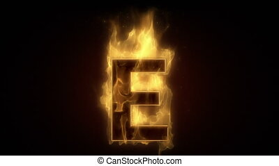 Fiery letter E burning in loop with particles