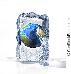 Earth globe into an ice brick standi on a white surface, with some water pool. On white background.